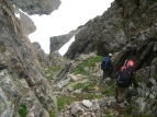 Scrambling back down the West Gully.
