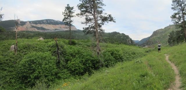 Mile 32: Keith and I climb along the Littlehorn Trail headed upwards into the night.