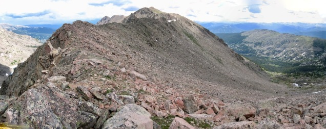 Decision time on Halo Ridge. I ended up bailing out down the slope to the right to Lake Constantine